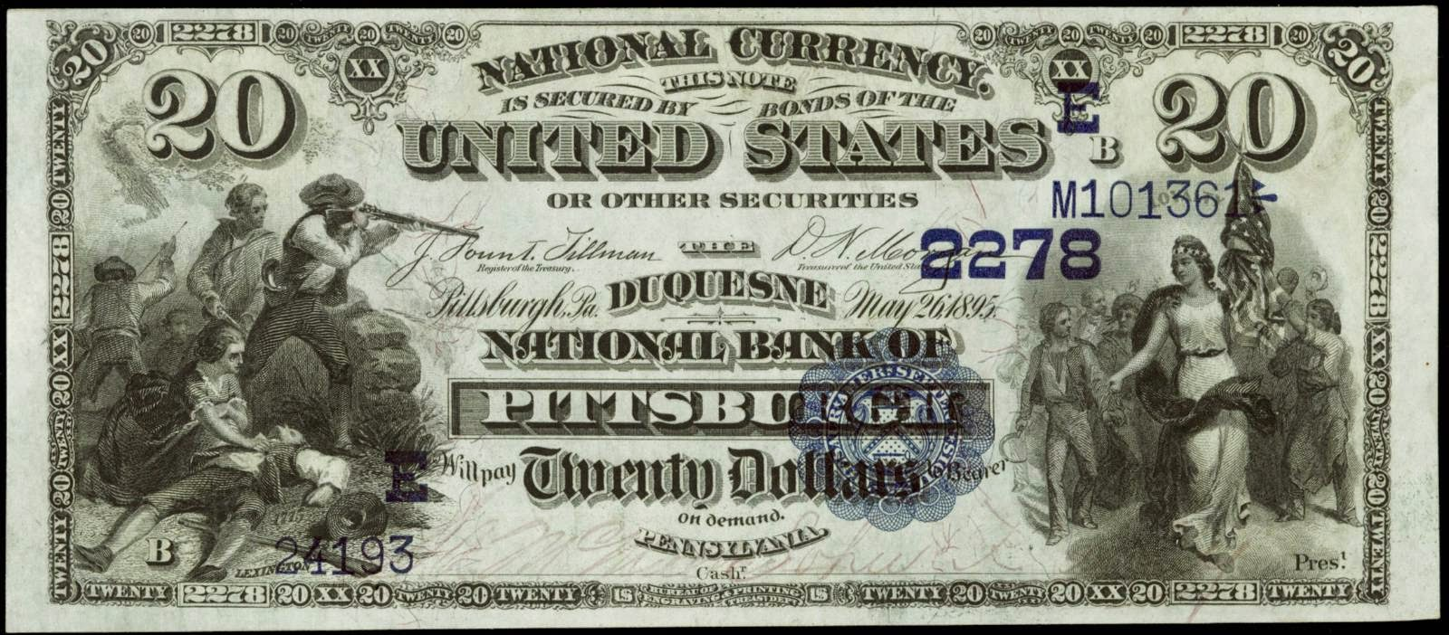 1882 20 Dollar Date Back National Currency Bank Note