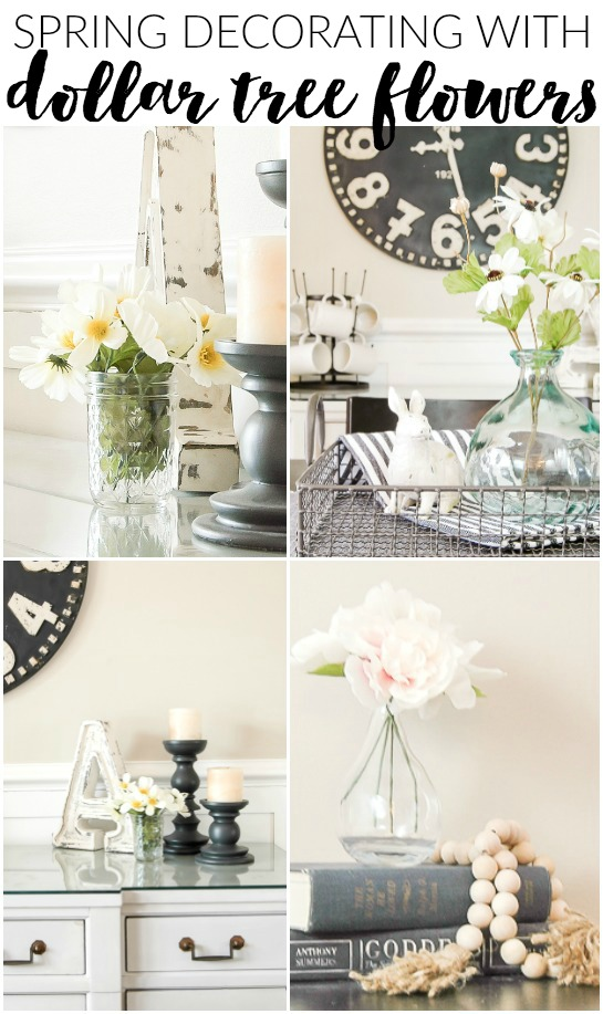 Simple and inexpensive spring decorating with Dollar Tree flowers.  www.littlehouseoffour.com