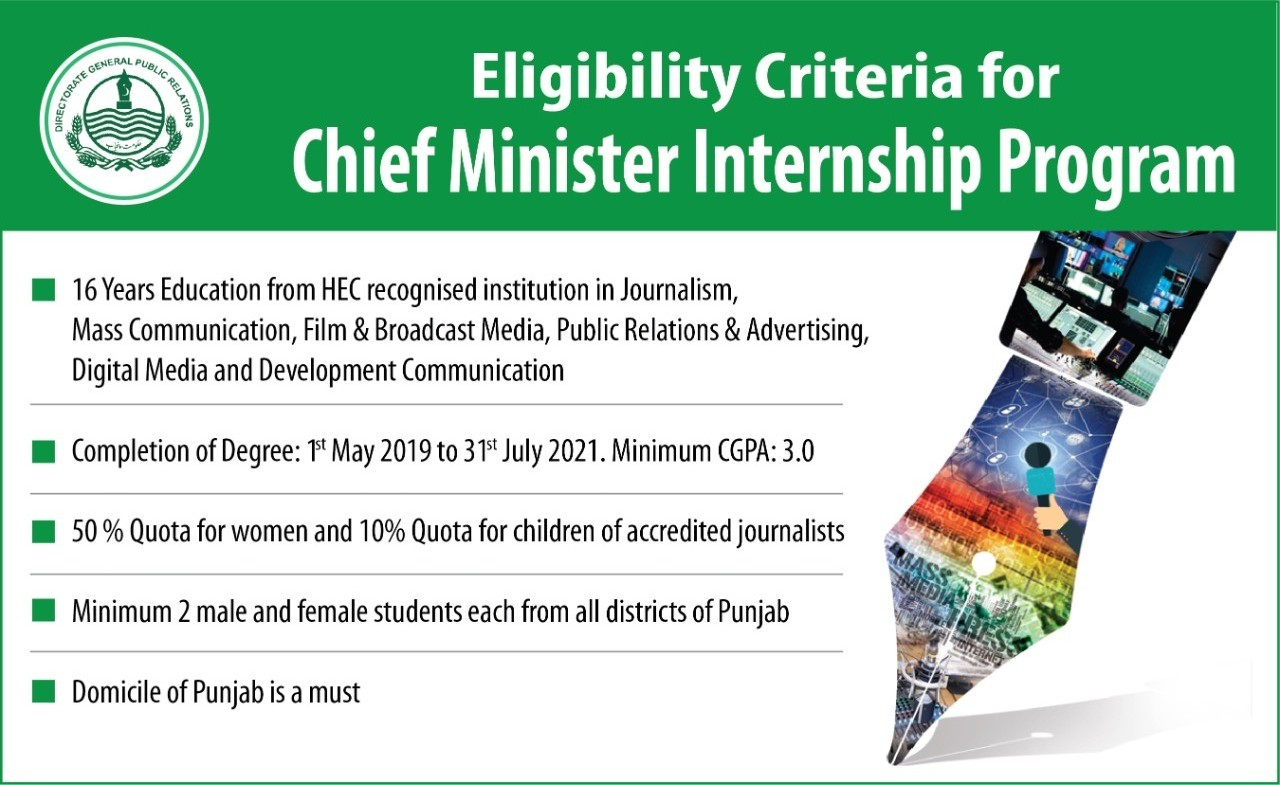CM Punjab Internship Program 2021-22   Rs. 20,000/- Monthly Stipend