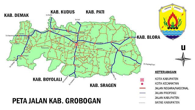 Gambar Peta Jalan Kabupaten Grobogan Jawa Tengah