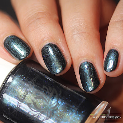 Nail polish swatch and review of Blue Spruce. This is a blue shimmery nail polish by Soothing Soul Nail Lacquer.