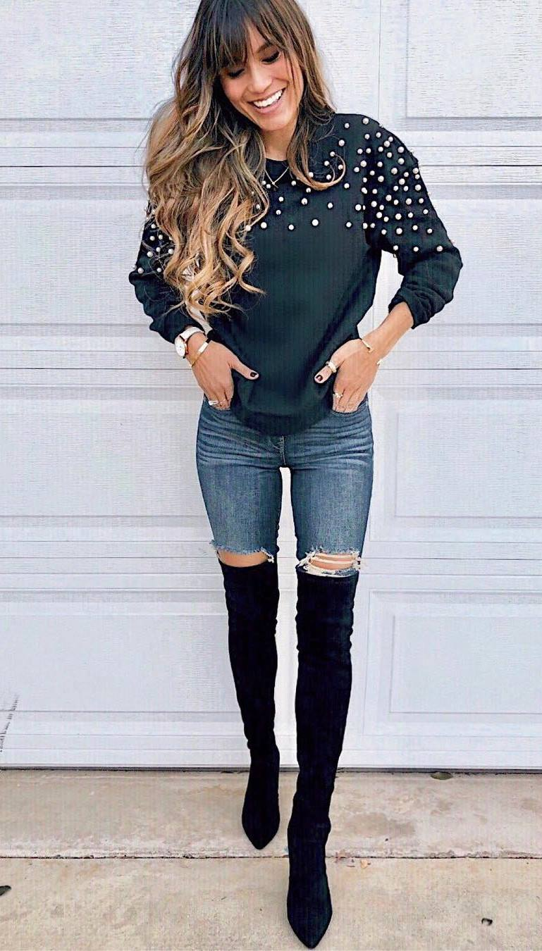 stylish look | sweater + ripped jeans + over knee boots