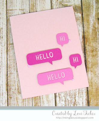 Speech Bubble Hello card-designed by Lori Tecler/Inking Aloud-dies from Lawn Fawn