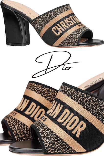 Black & beige embroidered cotton Dior J'Adior Dway mules #brilliantluxury