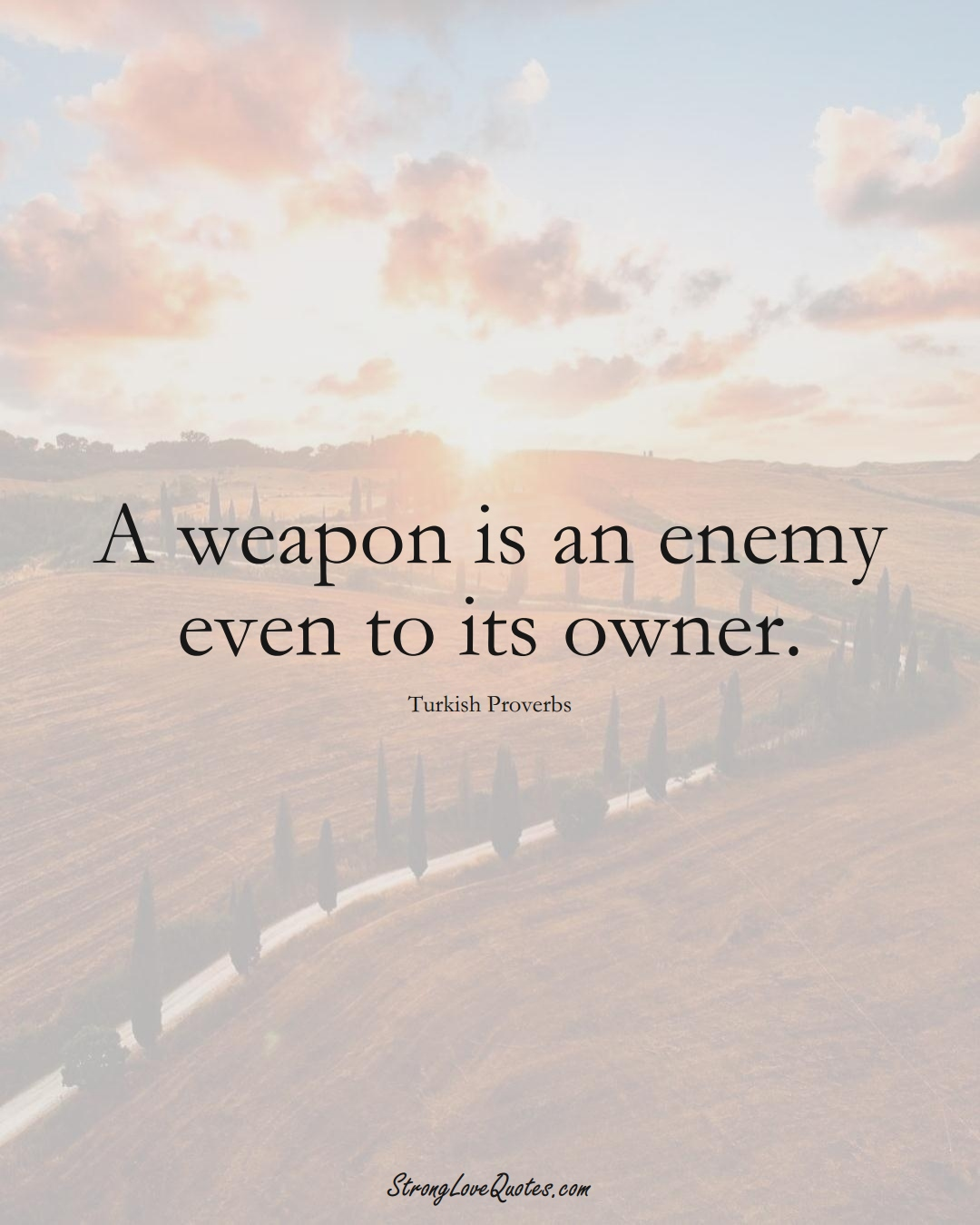 A weapon is an enemy even to its owner. (Turkish Sayings);  #MiddleEasternSayings