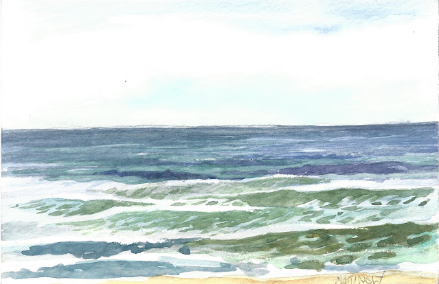 Watercolor of ocean waves and surf