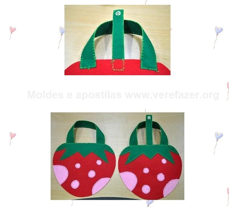 Bolsa De Festa Infantil : Bolsa moranguinho em feltro com moldes como fazer