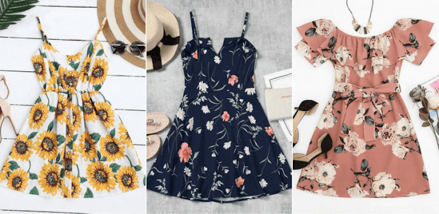 vestidos florais zaful