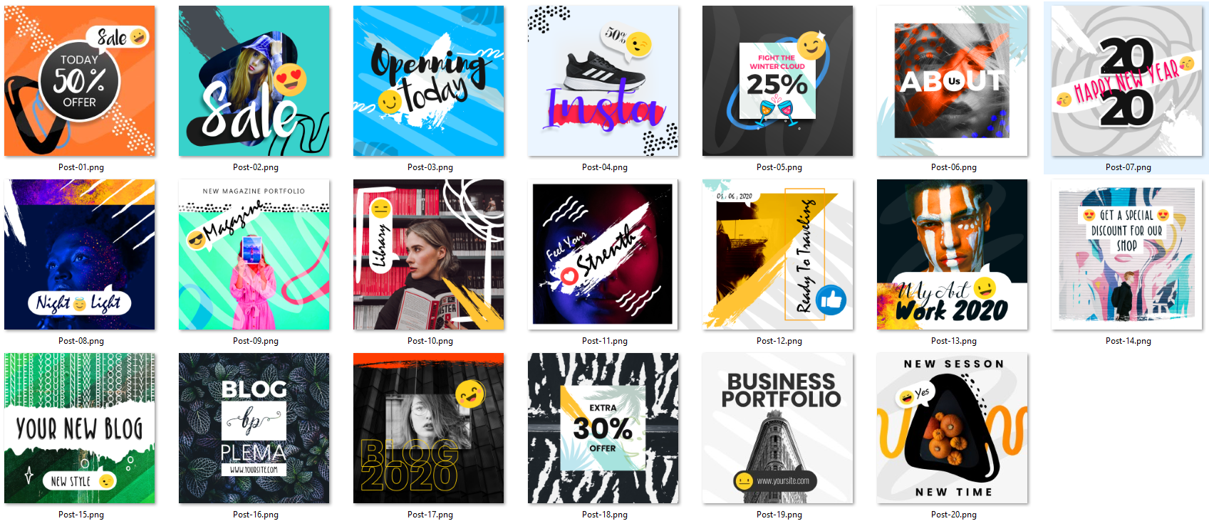 A collection of multiple shapes with open source Social Media Instagram PSD banners