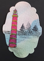 Lighthouse and ships stamped image on linen effect cardstock - oval panel