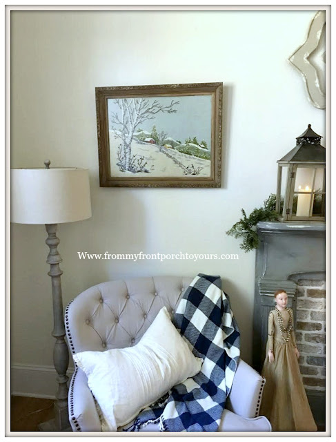 French -Country- Farmhouse-Vintage-Crewel-Artwork-Winterscape-Framed-From My Front Porch To Yours