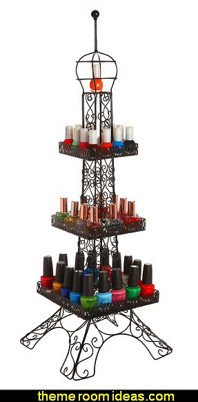 Eiffel Tower Design Decorative Black Metal Nail Polish Display