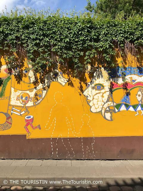 Wall mural by artist Aušra Bagočiūnaitė in Vilnius in Lithuania