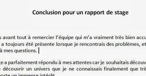 Conclusion Pour Un Rapport De Stage