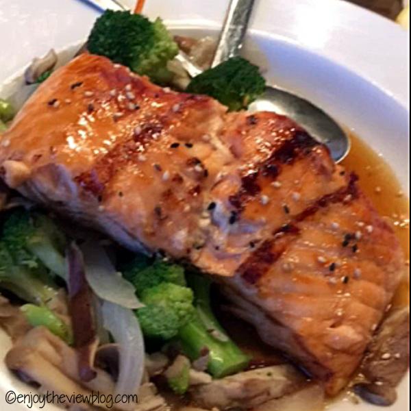 Grilled Salmon Teriyaki at Azo Lucy Ho's in Tallahassee is delicious! #adventuresofgusandkim #travelover50 #wheretoeatinTallahassee #enjoytheviewblogtravel