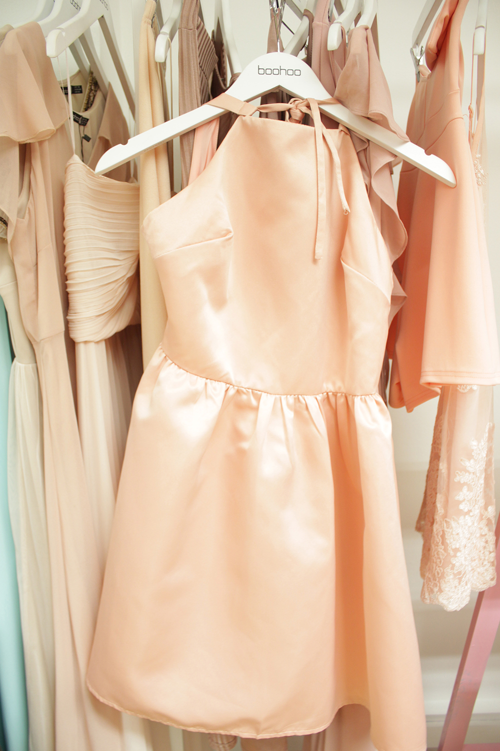 pastel pink silk dress, occasion wear blog event boohoo