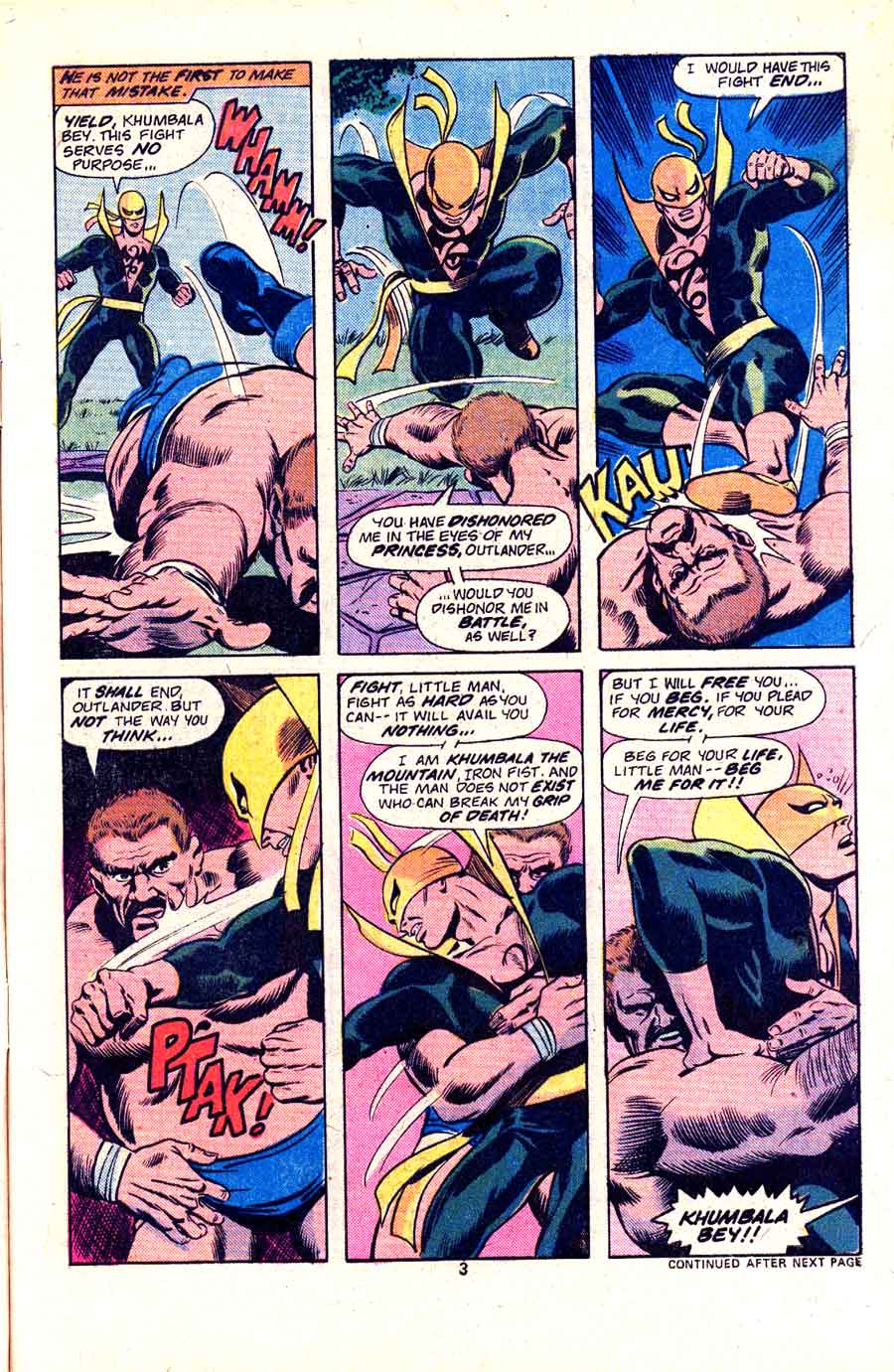 Marvel Premiere #25 marvel 1970s bronze age Iron Fist comic book art page by John Byrne