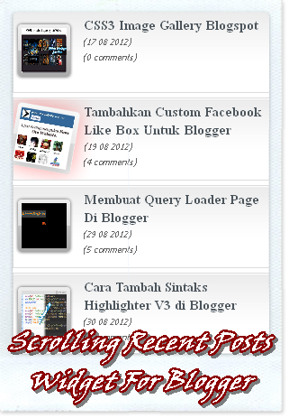 Membuat Widget Recent Post auto Scrolling