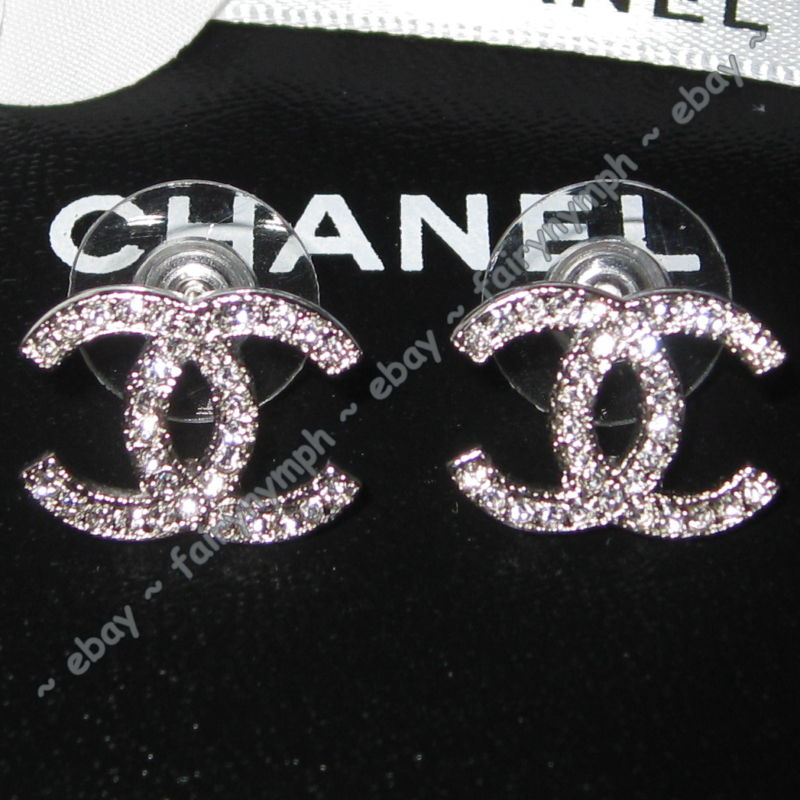 Hermes Chanel Chanel Classic Silver Cc Crystal Logo Stud