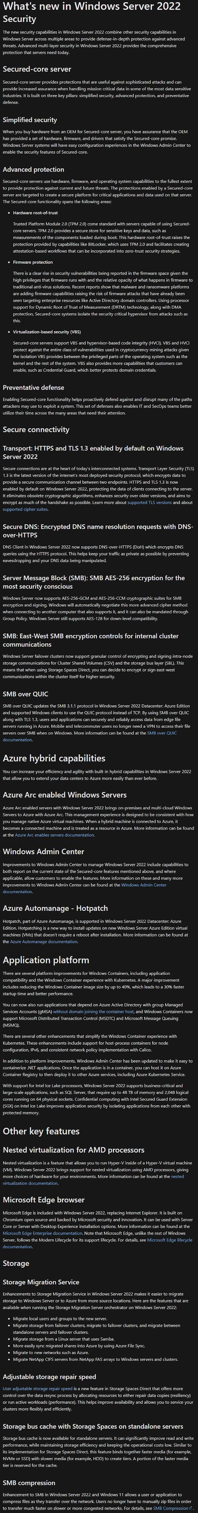 Windows Server 2022 Features