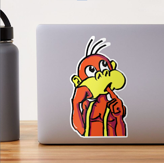 Board/Bored Monkey Reflection Large Sticker by TET. Available on Redbubble.
