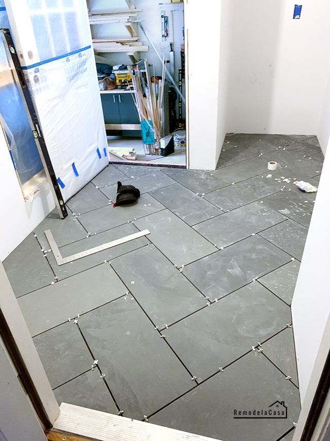 slate tiles with spacers in between