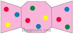 Bước 6: Tô màu để hoàn thành cách xếp cái kẹo bằng giấy theo phong cách origami.