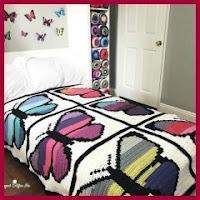 Manta mariposas a crochet
