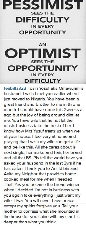 You Slept With Don Jazzy, 2face Idbia, Dr. Sid - Tiwa Savage's Husband T-billz Opens Up