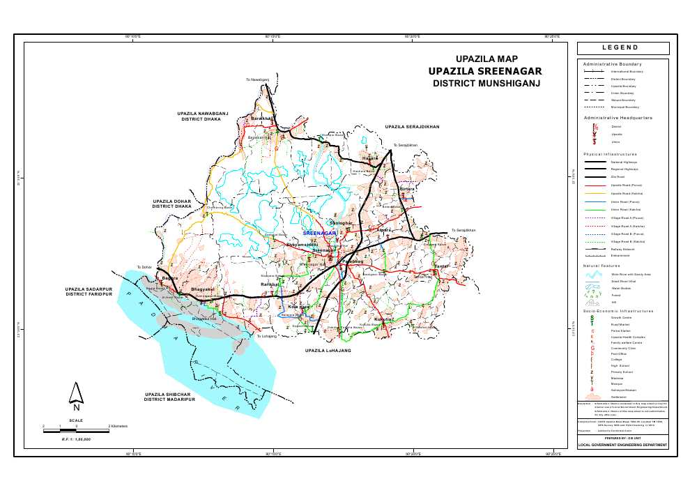 Sreenagar Upazila Map Munshiganj District Bangladesh