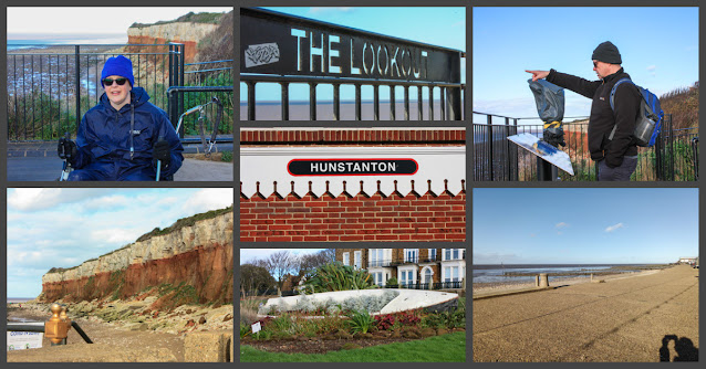 Collage of photos showing the cliffs, view over the Wash towards Skeggy wind farm, and the promenade