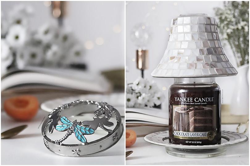 nakładka na świece yankee candle illuma lid, klosz i podstawka na świece yankee candle biała mozaika