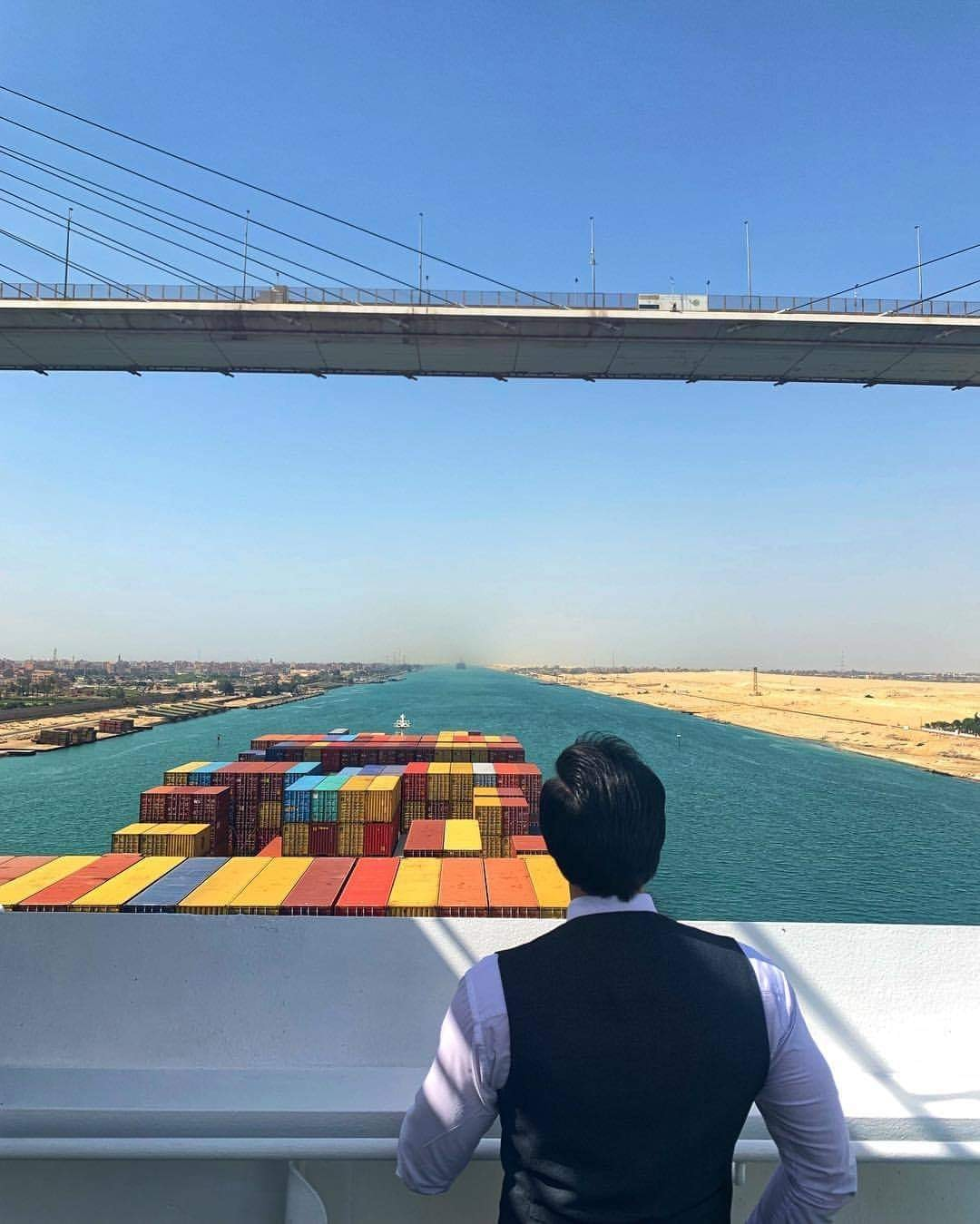 The joy of the crew of the Evergiven ship as it exits the Suez Canal
