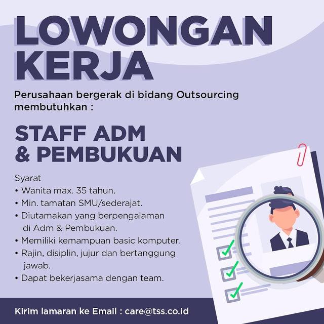 Lowongan Kerja Medan SMA Sederajat Staff ADM Juni 2021