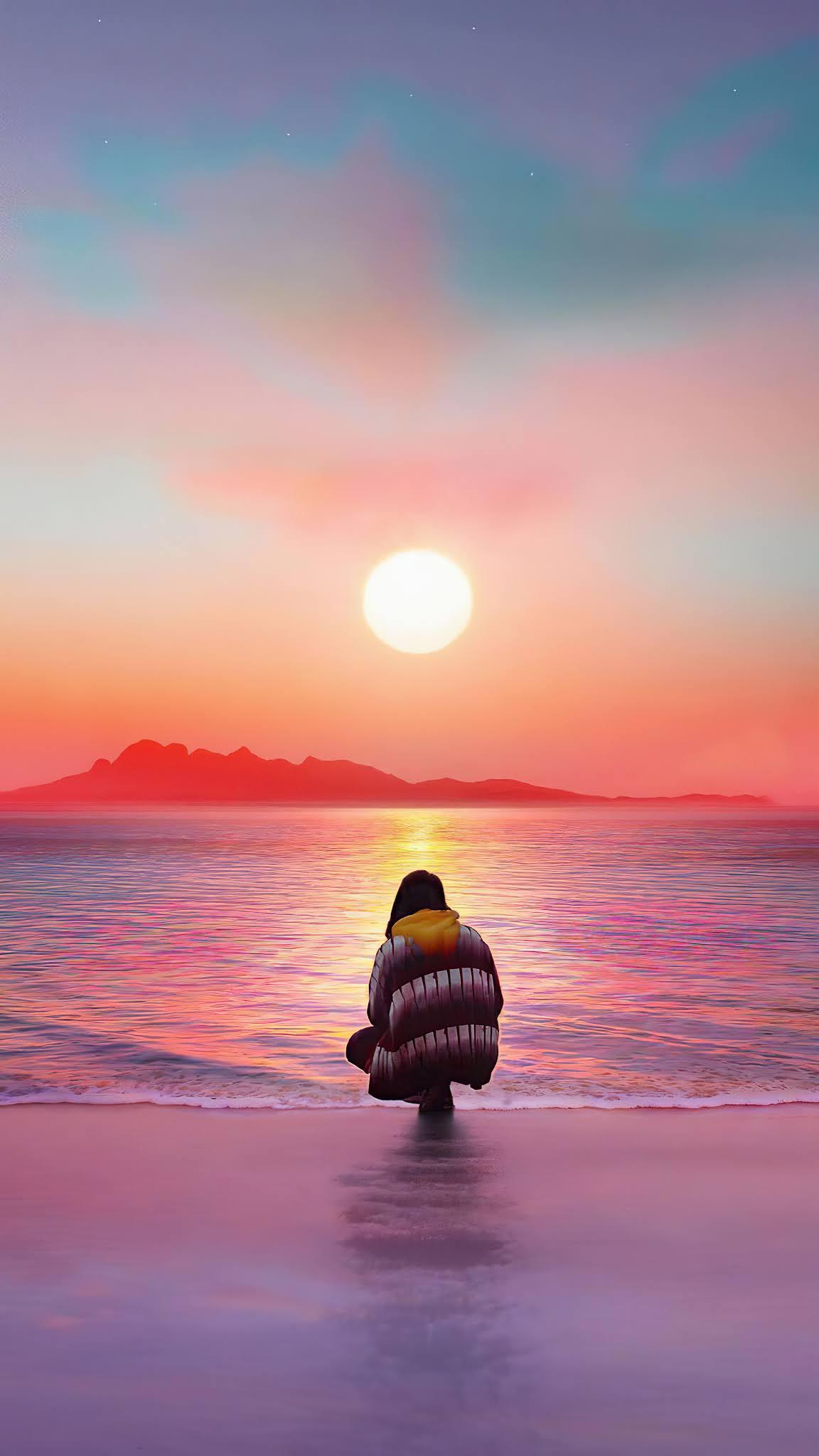 Sunset watching beach scenery mobile wallpaper