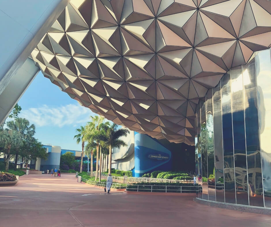 The entrance to Spaceship Earth in Epcot, Walt Disney World.
