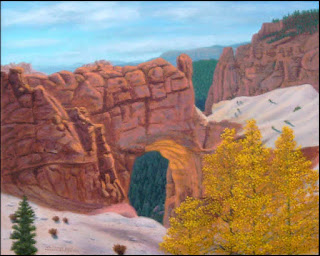 Bryce Canyon National Park,Utah,West,red rocks,hoodoos,arch,columns,art,painting,natural color,autumn,fall,aspen,aspens,trees