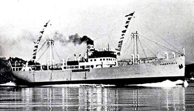 SS Taborfjell, sunk on 30 April 1942 worldwartwo.filminspector.com