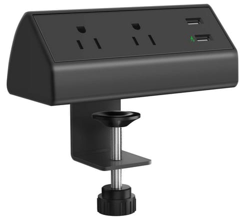 CCCEI Desk Clamp Power Strip USB Fast Charge
