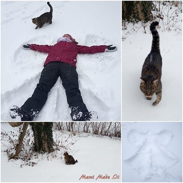 Schneeengel und Katze - Snow angel and cat