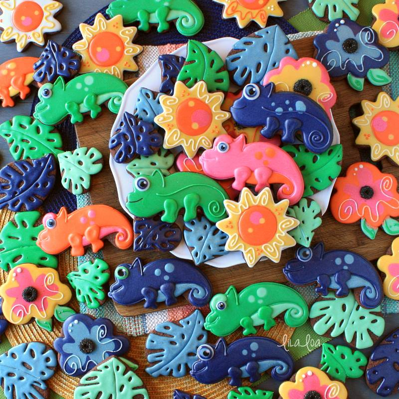 Brightly colored jungle and chameleon chocolate sugar cookies