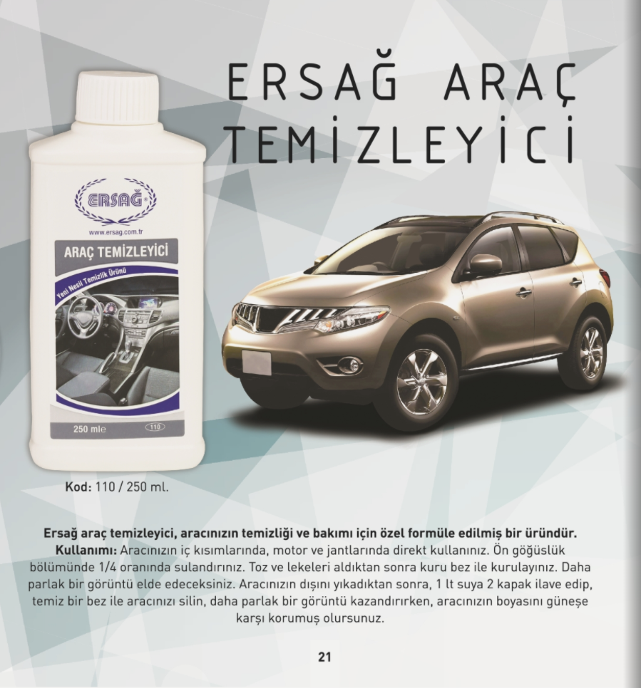 Ersağ Araç Temizleyici 250 ml.