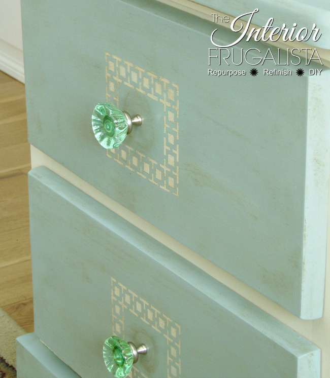 Pine Night Table With Green Glass Knobs