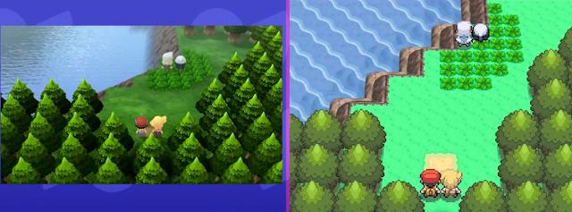 Pokémon Brilliant Diamond/Shining Pearl Lake Verity graphics comparison to Nintendo DS