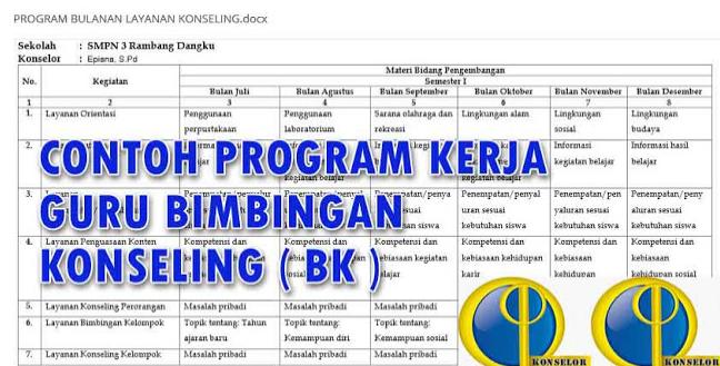 Format Program Bimbingan Konseling Di Sd