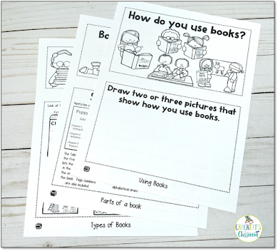 Three pages printed double sided turn into an adorable flap book that teachers kids the types of books, the parts of a book and how we use books in our lives.