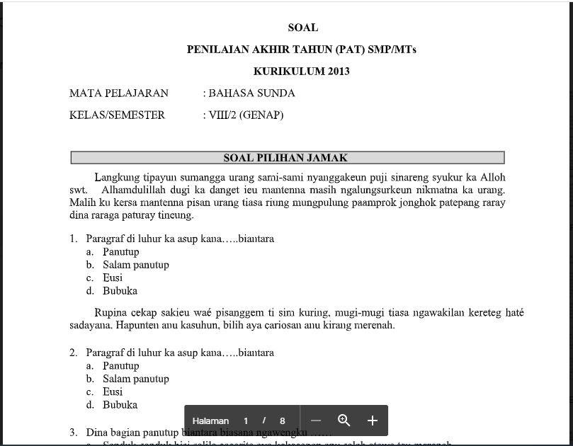 Soal Dan Kunci Jawaban Pat Bahasa Sunda Kelas 8 Kurikulum 2013 Soal Pelajaran