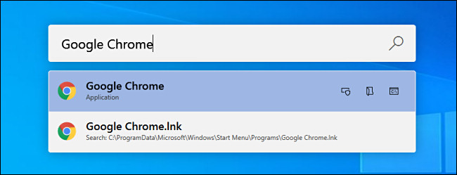 """البحث عن """"Google Chrome"""" في PowerToys Run على Windows 10."""