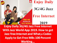 Jazz Internet, Jazz Free Internet, Jazz 3G Internet, Jazz 4g Internet