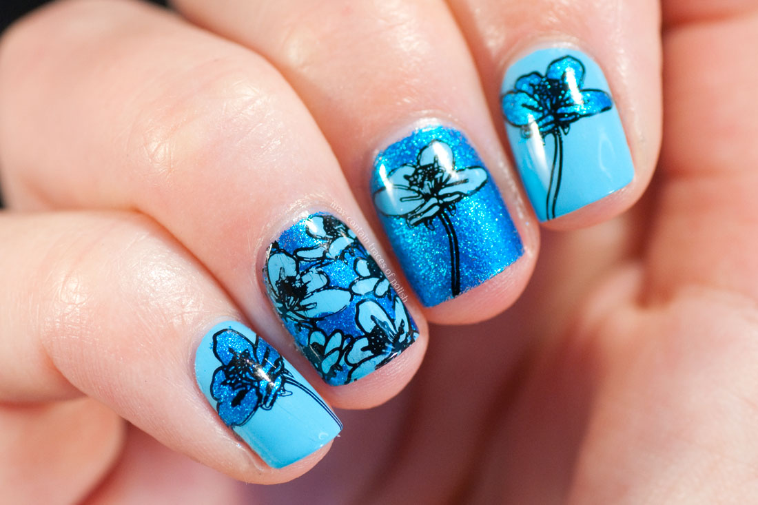 ILNP Blueprint floral nails with MoYou Flower Power 19